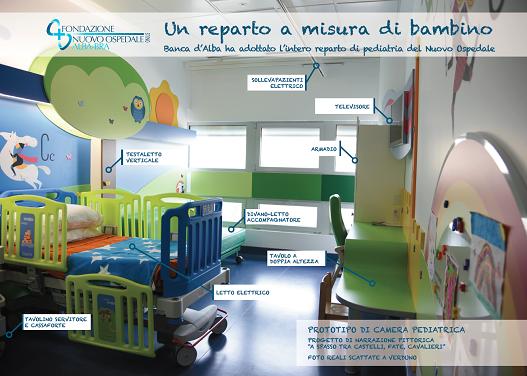 Un reparto a misura di bambino: la Banca d'Alba ha adottato l'intero reparto di pediatria