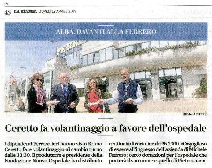 Il Presidente Ceretto davanti alla Ferrero. Continua la campagna del 5×1000 per l'Hospice